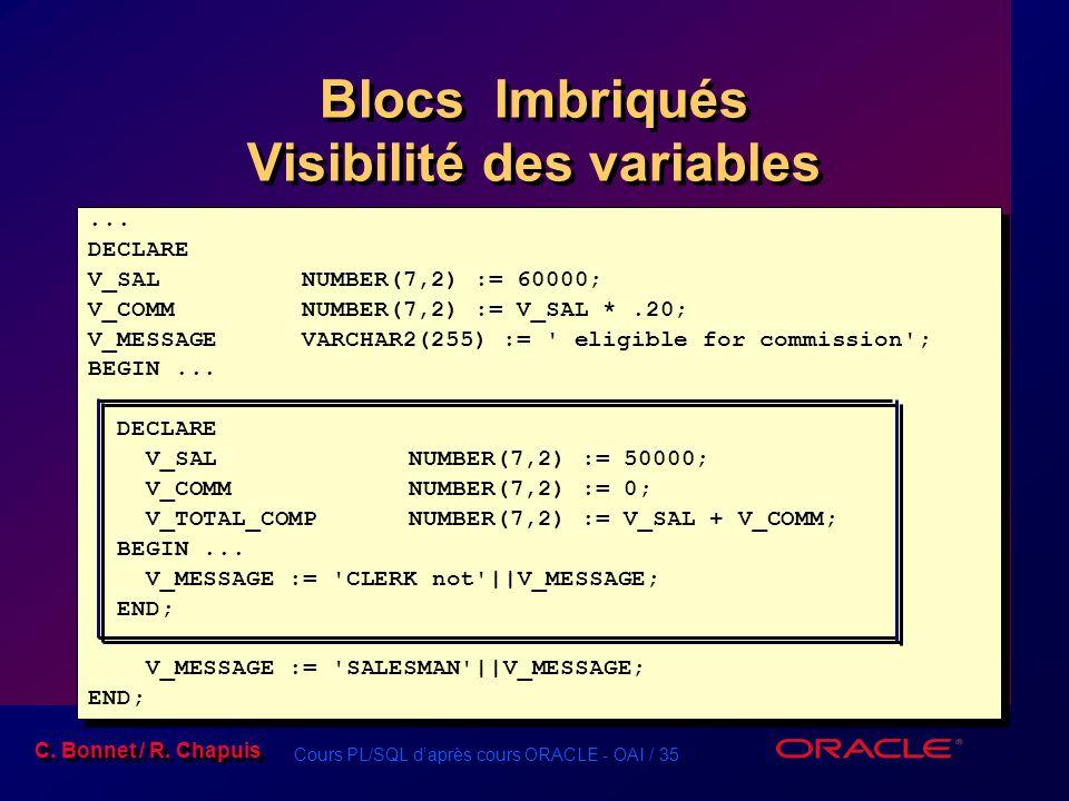 Cours PL/SQL d'après cours ORACLE - OAI / 35 C. Bonnet / R. Chapuis Blocs Imbriqués Visibilité des variables... DECLARE V_SALNUMBER(7,2) := 60000; V_C