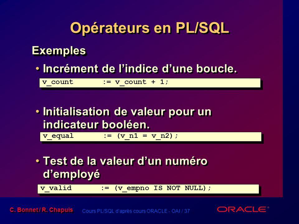 Cours PL/SQL d'après cours ORACLE - OAI / 37 C. Bonnet / R. Chapuis Exemples Incrément de l'indice d'une boucle. Initialisation de valeur pour un indi