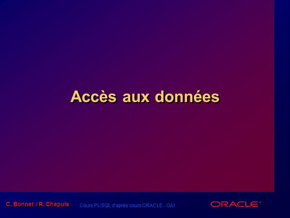 Cours PL/SQL d'après cours ORACLE - OAI C. Bonnet / R. Chapuis Accès aux données