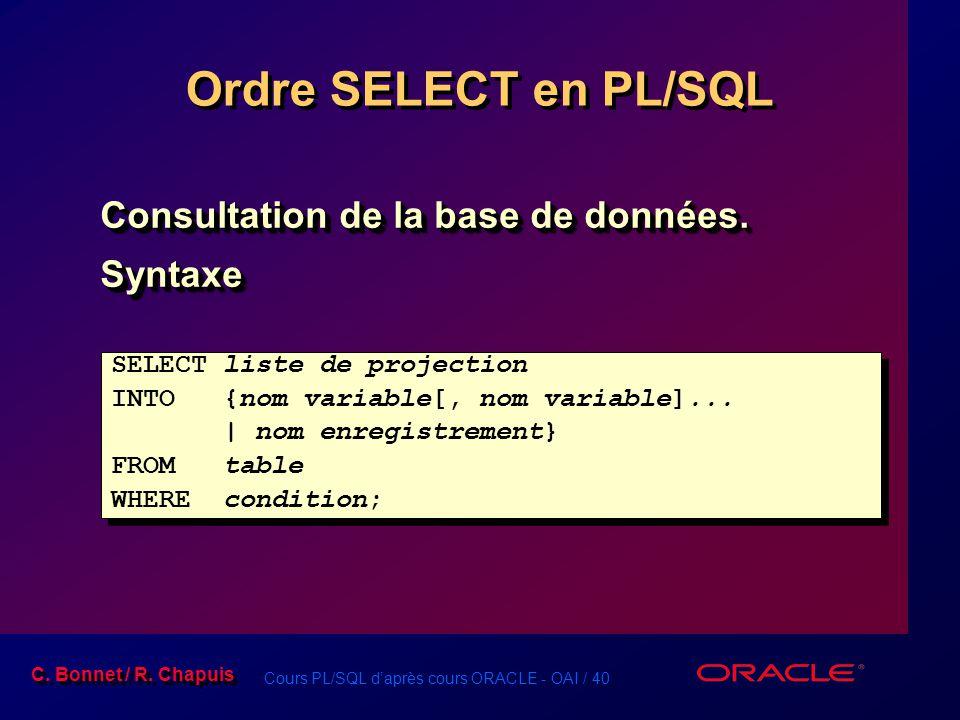Cours PL/SQL d'après cours ORACLE - OAI / 40 C. Bonnet / R. Chapuis Ordre SELECT en PL/SQL Consultation de la base de données. Syntaxe Syntaxe SELECT