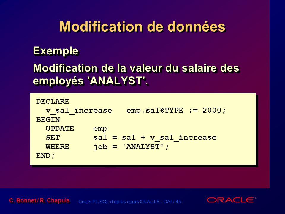 Cours PL/SQL d'après cours ORACLE - OAI / 45 C. Bonnet / R. Chapuis Modification de données Exemple Modification de la valeur du salaire des employés