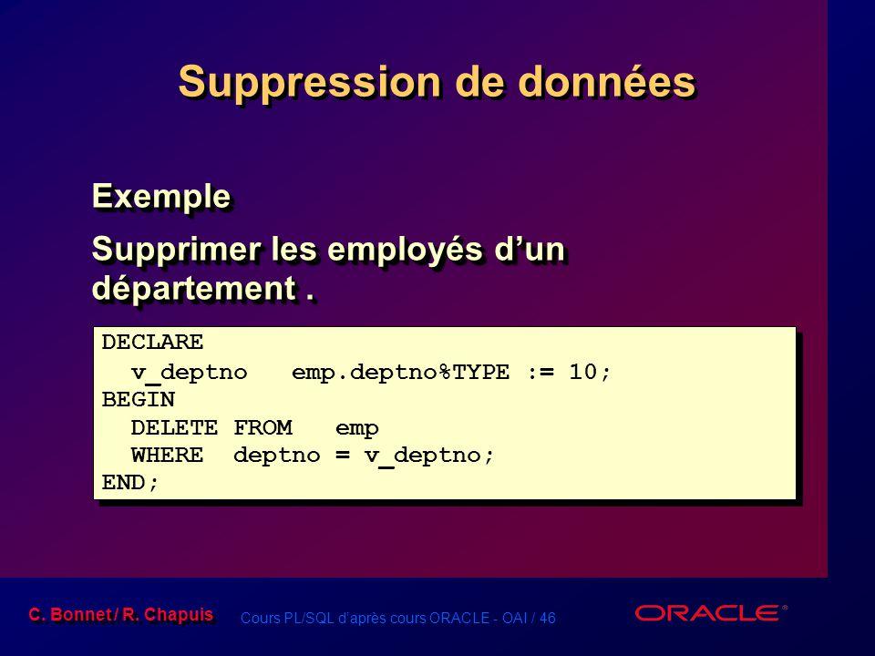 Cours PL/SQL d'après cours ORACLE - OAI / 46 C. Bonnet / R. Chapuis Suppression de données Exemple Supprimer les employés d'un département. Exemple DE