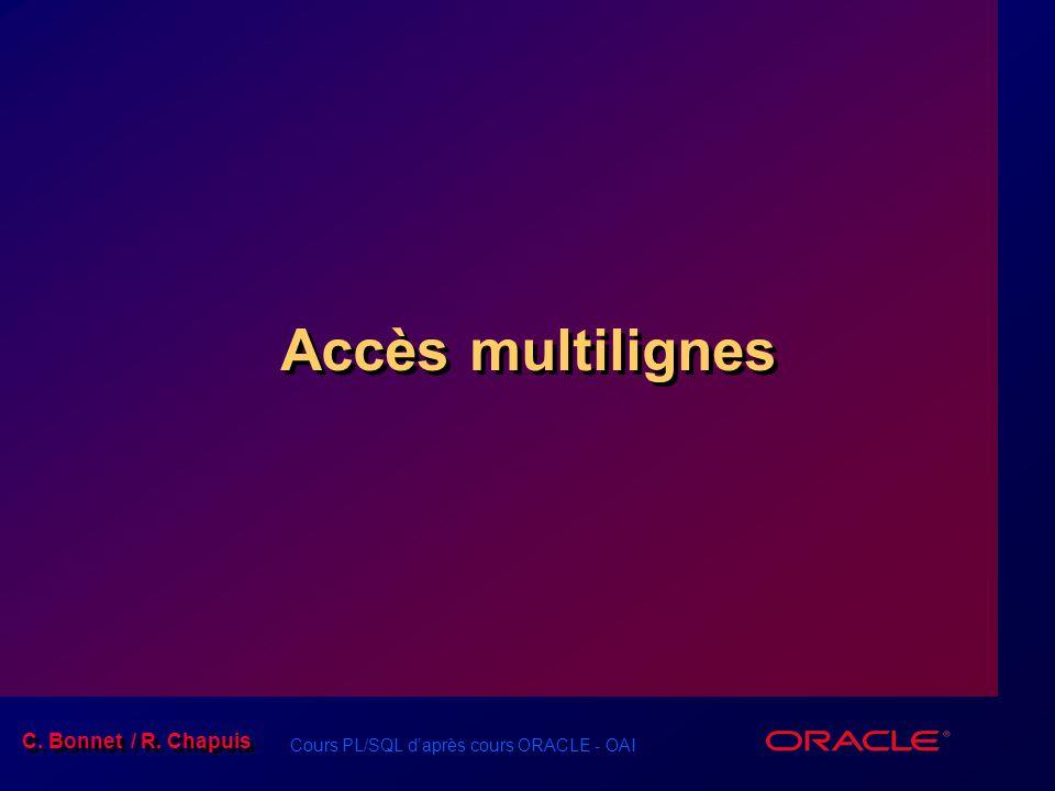 Cours PL/SQL d'après cours ORACLE - OAI / 49 C.Bonnet / R.
