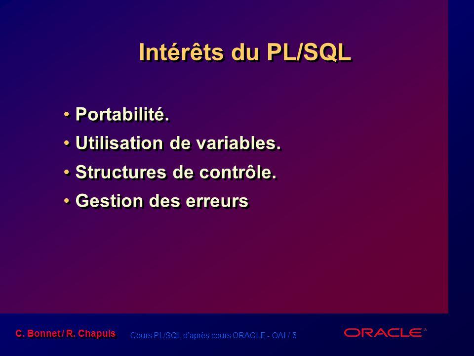 Cours PL/SQL d'après cours ORACLE - OAI / 5 C. Bonnet / R. Chapuis Intérêts du PL/SQL Portabilité. Utilisation de variables. Structures de contrôle. G