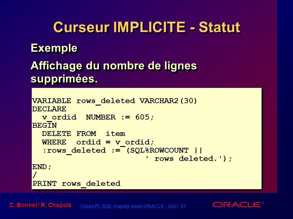Cours PL/SQL d'après cours ORACLE - OAI / 51 C. Bonnet / R. Chapuis Curseur IMPLICITE - Statut Exemple Affichage du nombre de lignes supprimées. Exemp