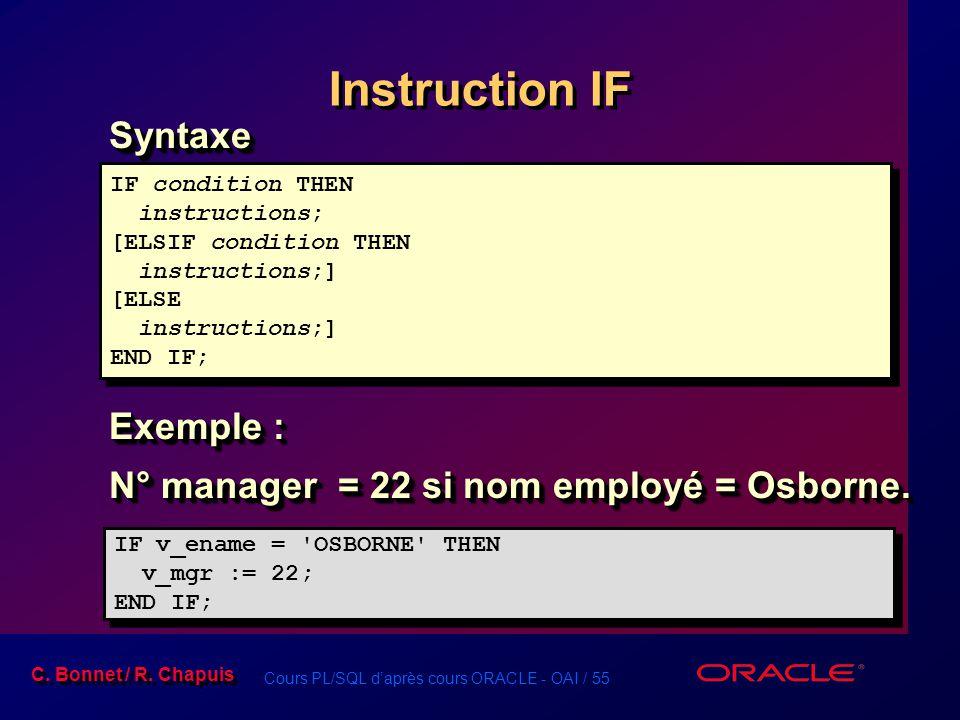 Cours PL/SQL d'après cours ORACLE - OAI / 55 C. Bonnet / R. Chapuis Instruction IF Syntaxe Exemple : N° manager = 22 si nom employé = Osborne. Syntaxe