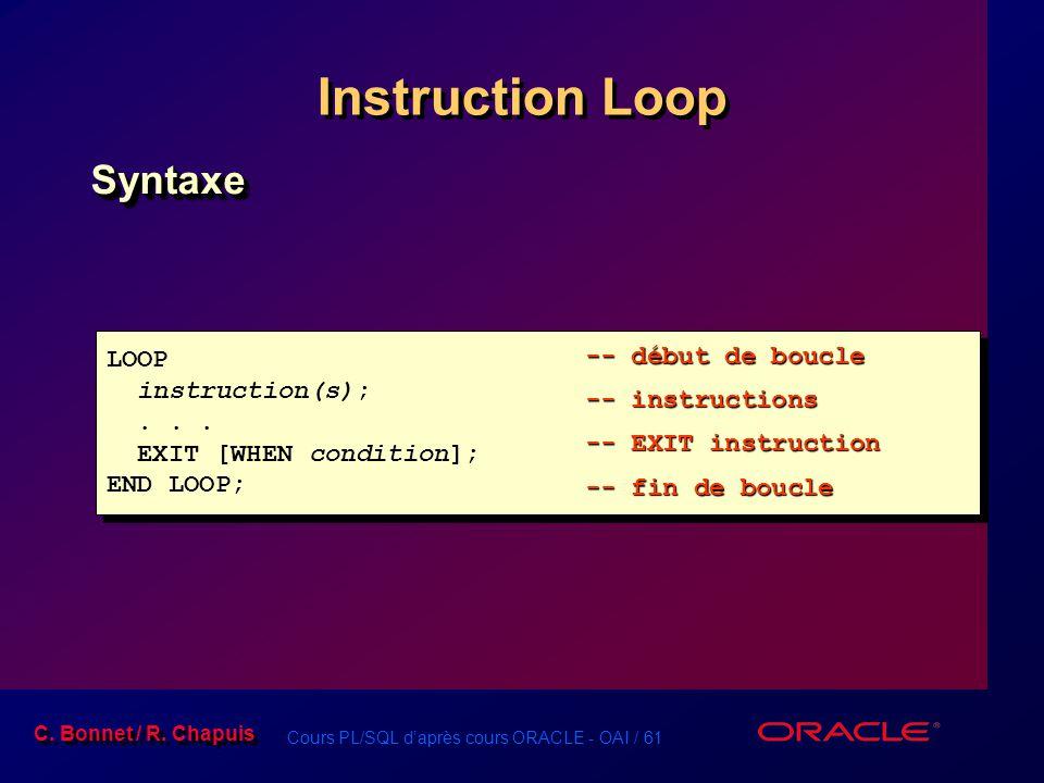 Cours PL/SQL d'après cours ORACLE - OAI / 61 C. Bonnet / R. Chapuis Instruction Loop SyntaxeSyntaxe LOOP instruction(s);... EXIT [WHEN condition]; END