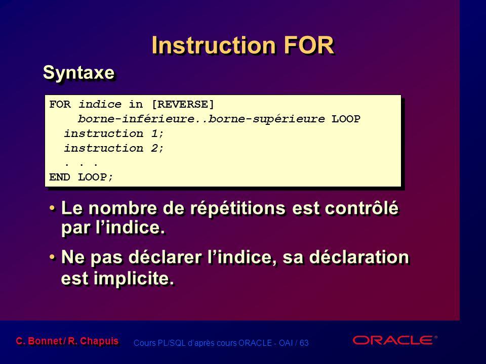 Cours PL/SQL d'après cours ORACLE - OAI / 63 C. Bonnet / R. Chapuis Instruction FOR Syntaxe Le nombre de répétitions est contrôlé par l'indice. Ne pas