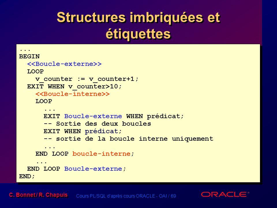 Cours PL/SQL d'après cours ORACLE - OAI / 69 C. Bonnet / R. Chapuis Structures imbriquées et étiquettes... BEGIN > LOOP v_counter := v_counter+1; EXIT