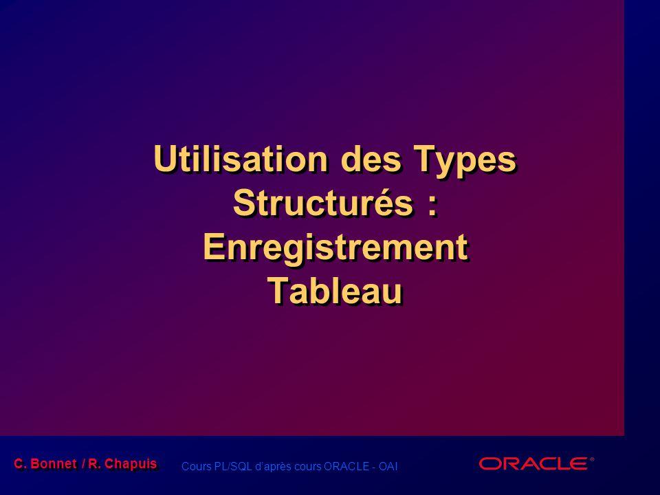 Cours PL/SQL d'après cours ORACLE - OAI C. Bonnet / R. Chapuis Utilisation des Types Structurés : Enregistrement Tableau