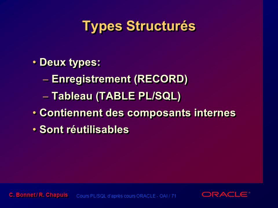 Cours PL/SQL d'après cours ORACLE - OAI / 71 C. Bonnet / R. Chapuis Types Structurés Deux types: – Enregistrement (RECORD) – Tableau (TABLE PL/SQL) Co