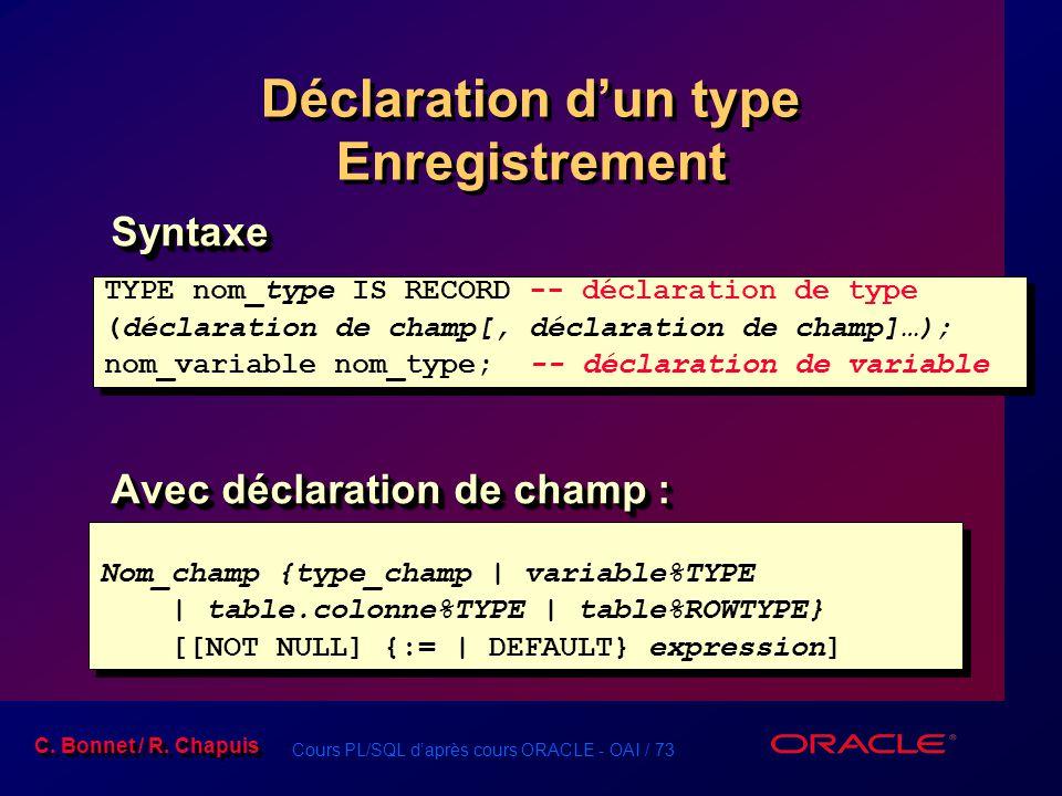 Cours PL/SQL d'après cours ORACLE - OAI / 73 C. Bonnet / R. Chapuis Déclaration d'un type Enregistrement Syntaxe Avec déclaration de champ : Syntaxe T