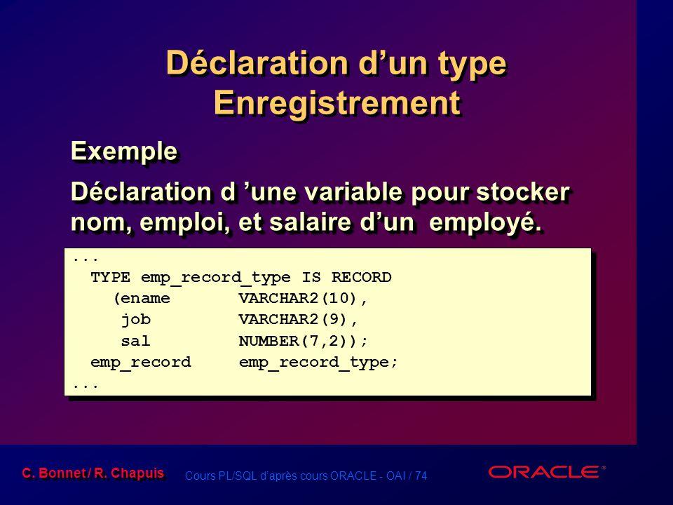 Cours PL/SQL d'après cours ORACLE - OAI / 74 C. Bonnet / R. Chapuis Déclaration d'un type Enregistrement Exemple Déclaration d 'une variable pour stoc