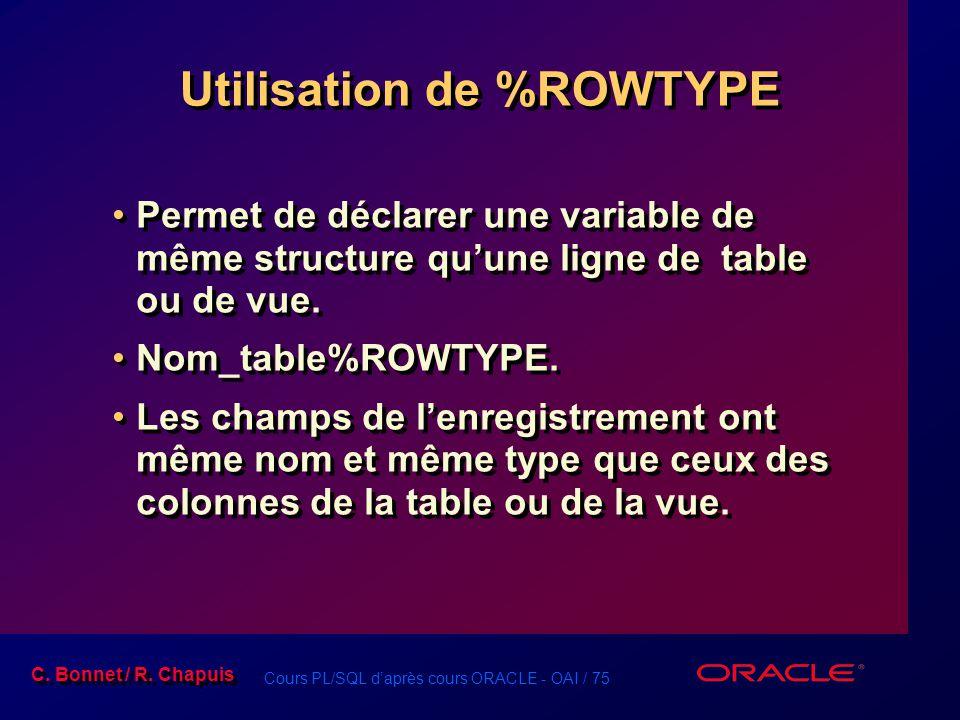 Cours PL/SQL d'après cours ORACLE - OAI / 75 C. Bonnet / R. Chapuis Utilisation de %ROWTYPE Permet de déclarer une variable de même structure qu'une l