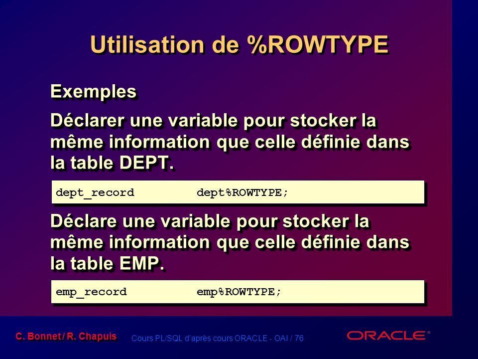 Cours PL/SQL d'après cours ORACLE - OAI / 76 C. Bonnet / R. Chapuis Utilisation de %ROWTYPE Exemples Déclarer une variable pour stocker la même inform