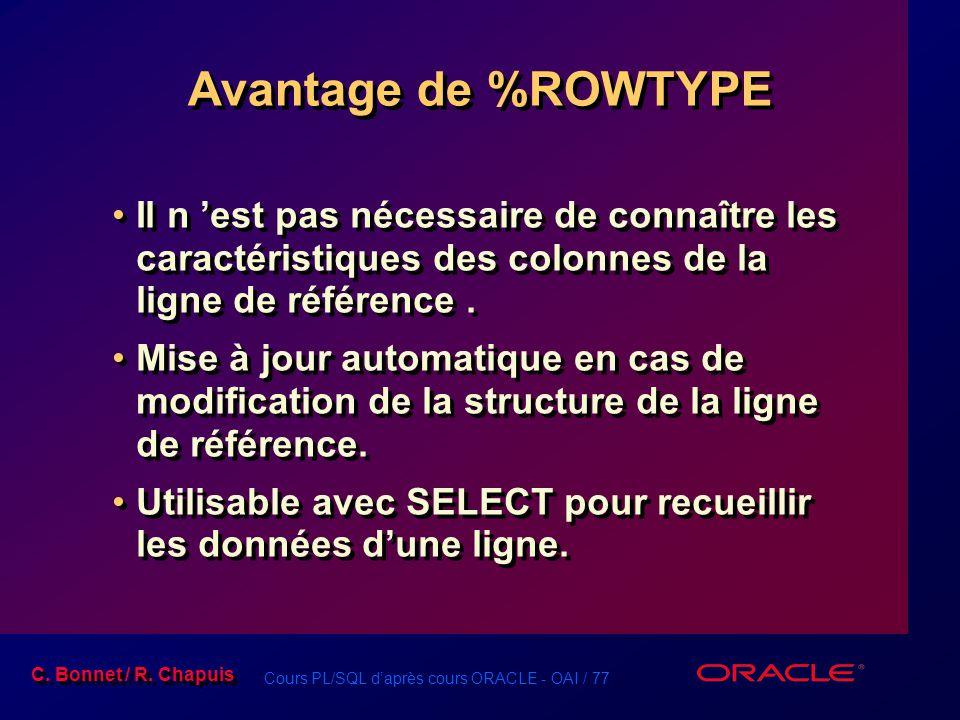 Cours PL/SQL d'après cours ORACLE - OAI / 77 C. Bonnet / R. Chapuis Avantage de %ROWTYPE Il n 'est pas nécessaire de connaître les caractéristiques de