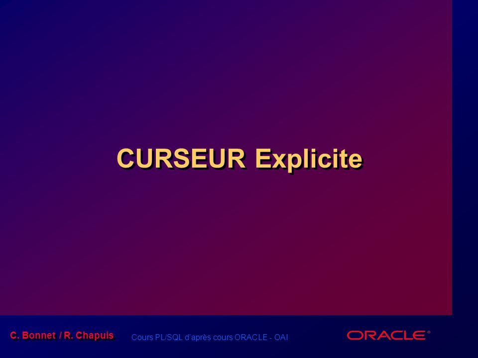 Cours PL/SQL d'après cours ORACLE - OAI C. Bonnet / R. Chapuis CURSEUR Explicite