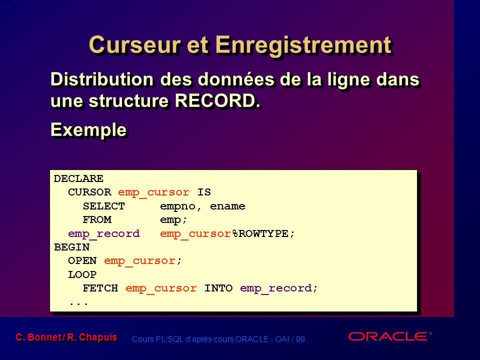 Cours PL/SQL d'après cours ORACLE - OAI / 99 C. Bonnet / R. Chapuis Curseur et Enregistrement Distribution des données de la ligne dans une structure