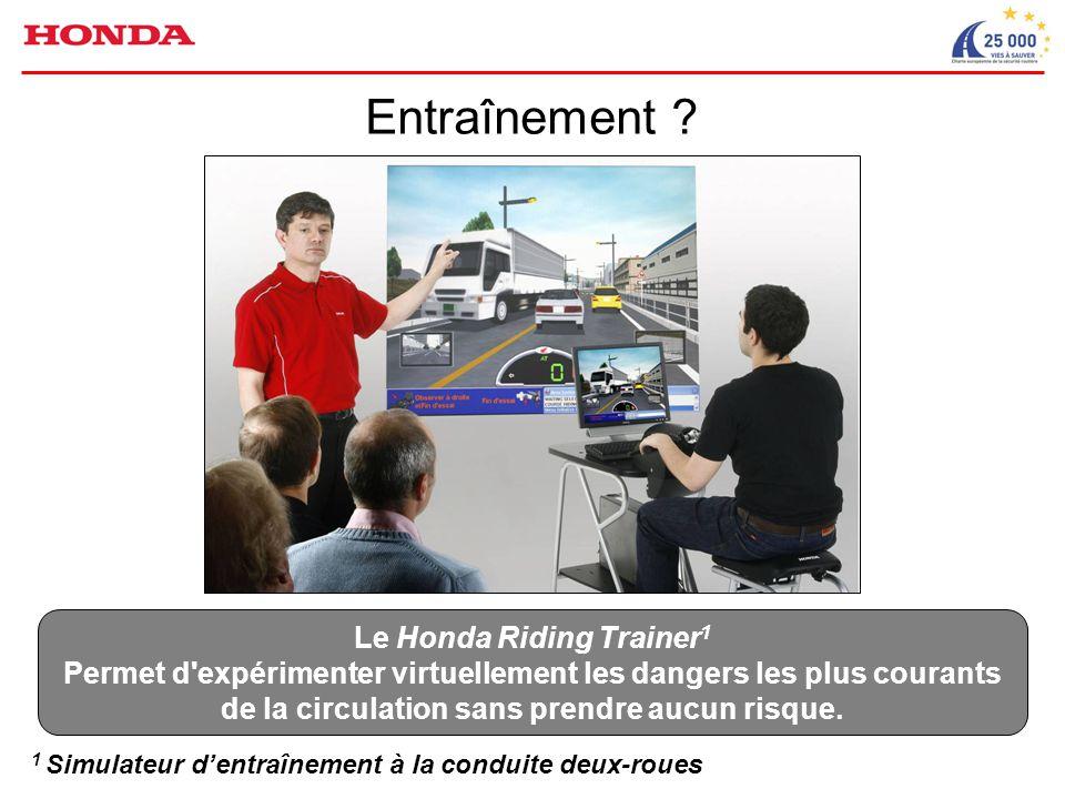 1 Simulateur d'entraînement à la conduite deux-roues Le Honda Riding Trainer 1 Permet d expérimenter virtuellement les dangers les plus courants de la circulation sans prendre aucun risque.