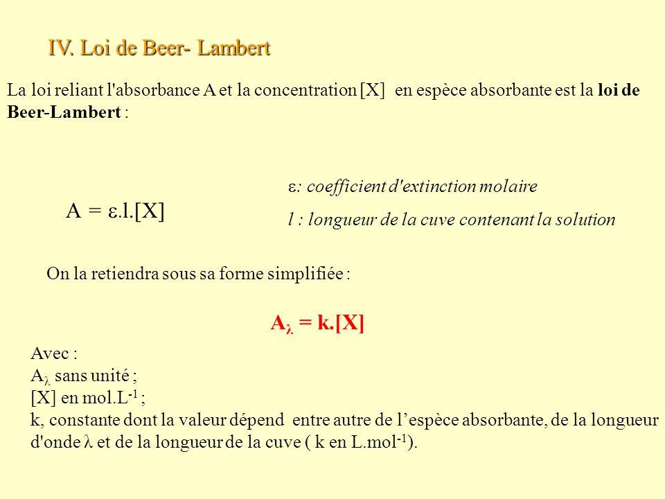 On la retiendra sous sa forme simplifiée : IV. Loi de Beer- Lambert A =   l.[X]  : coefficient d'extinction molaire l : longueur de la cuve contena
