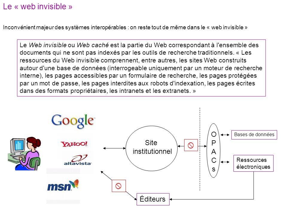 Le « web invisible » Le Web invisible ou Web caché est la partie du Web correspondant à l ensemble des documents qui ne sont pas indexés par les outils de recherche traditionnels.