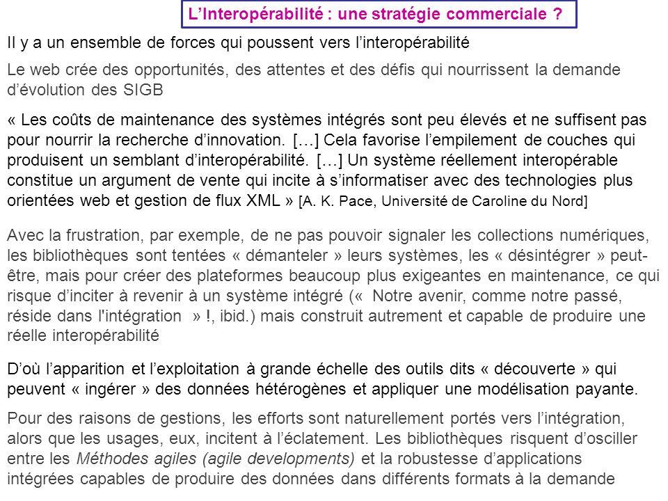 L'Interopérabilité : une stratégie commerciale ? Il y a un ensemble de forces qui poussent vers l'interopérabilité Le web crée des opportunités, des a