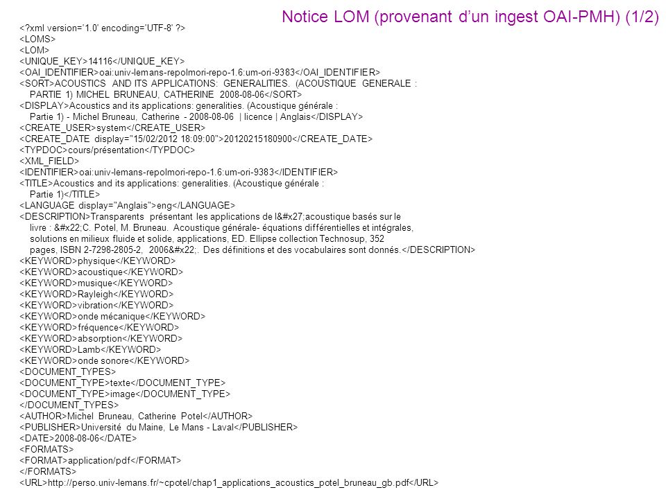 14116 oai:univ-lemans-repolmori-repo-1.6:um-ori-9383 ACOUSTICS AND ITS APPLICATIONS: GENERALITIES. (ACOUSTIQUE GENERALE : PARTIE 1) MICHEL BRUNEAU, CA