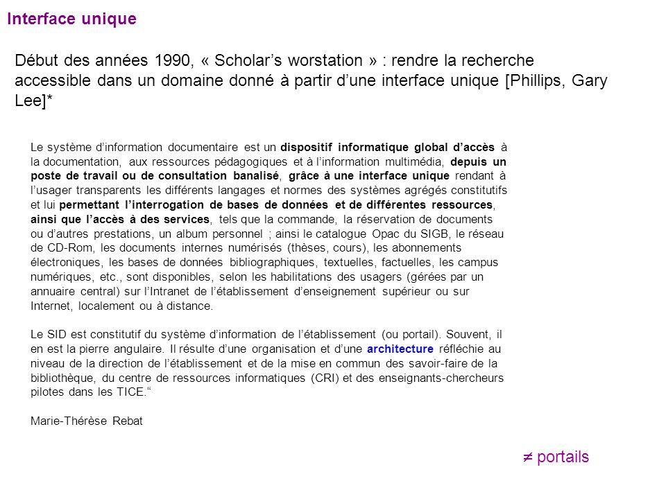 Début des années 1990, « Scholar's worstation » : rendre la recherche accessible dans un domaine donné à partir d'une interface unique [Phillips, Gary