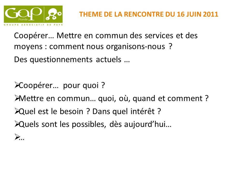 THEME DE LA RENCONTRE DU 16 JUIN 2011 Coopérer… Mettre en commun des services et des moyens : comment nous organisons-nous ? Des questionnements actue