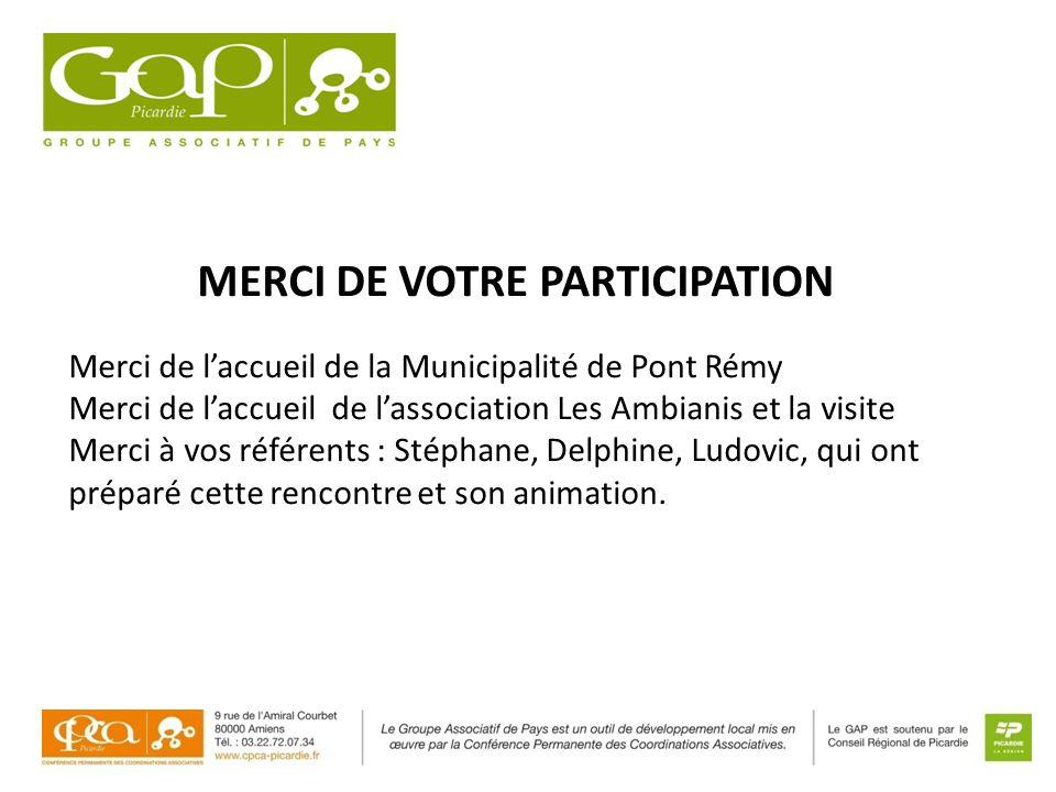 MERCI DE VOTRE PARTICIPATION Merci de l'accueil de la Municipalité de Pont Rémy Merci de l'accueil de l'association Les Ambianis et la visite Merci à vos référents : Stéphane, Delphine, Ludovic, qui ont préparé cette rencontre et son animation.
