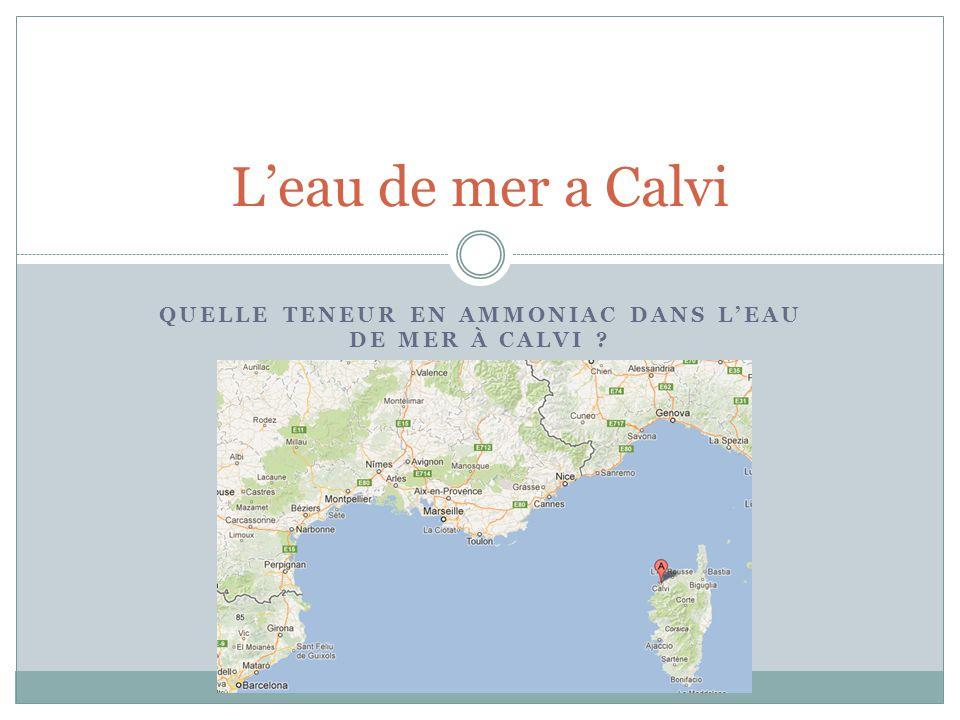 QUELLE TENEUR EN AMMONIAC DANS L'EAU DE MER À CALVI ? L'eau de mer a Calvi