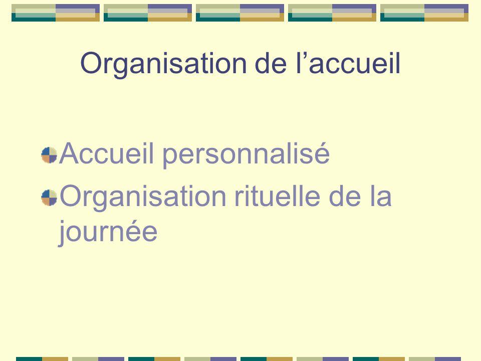 Organisation de l'accueil Accueil personnalisé Organisation rituelle de la journée