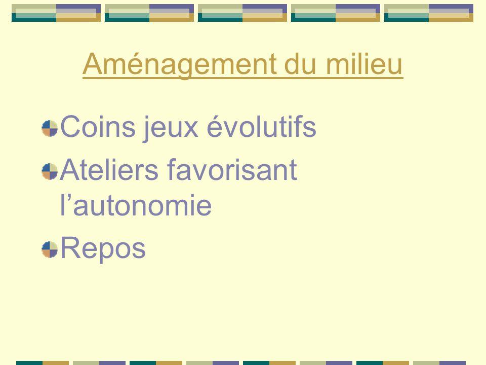 Aménagement du milieu Coins jeux évolutifs Ateliers favorisant l'autonomie Repos
