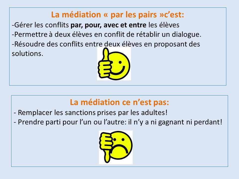 La médiation « par les pairs »c'est: -Gérer les conflits par, pour, avec et entre les élèves -Permettre à deux élèves en conflit de rétablir un dialog