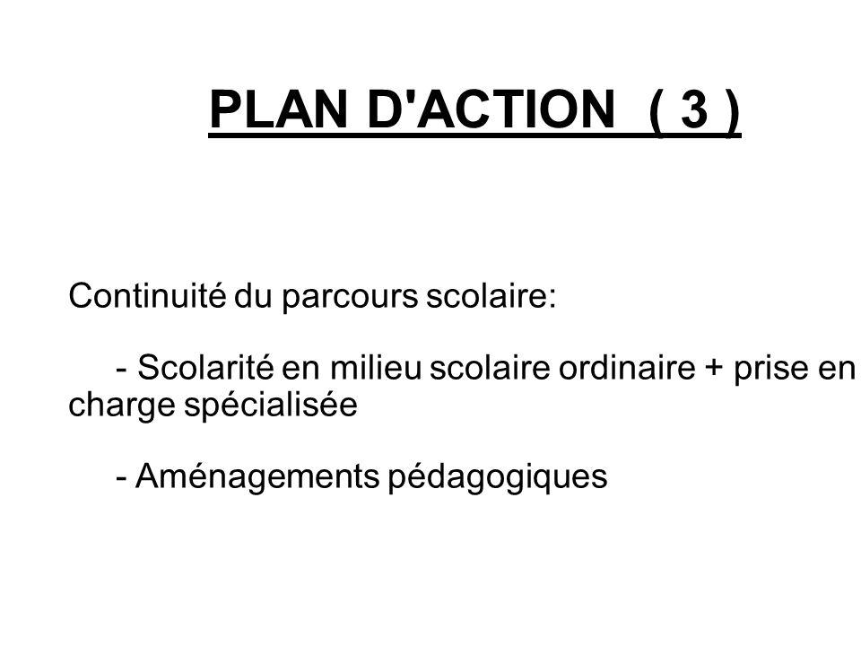 PLAN D'ACTION ( 3 ) Continuité du parcours scolaire: - Scolarité en milieu scolaire ordinaire + prise en charge spécialisée - Aménagements pédagogiqu