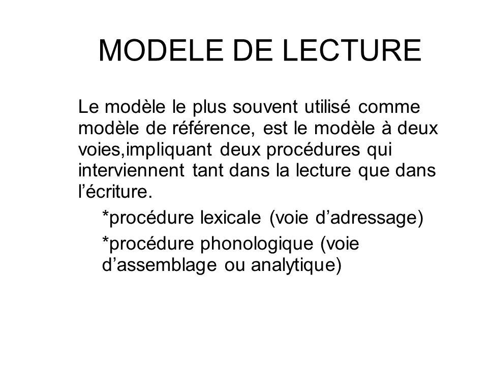 MODELE DE LECTURE Le modèle le plus souvent utilisé comme modèle de référence, est le modèle à deux voies,impliquant deux procédures qui interviennent