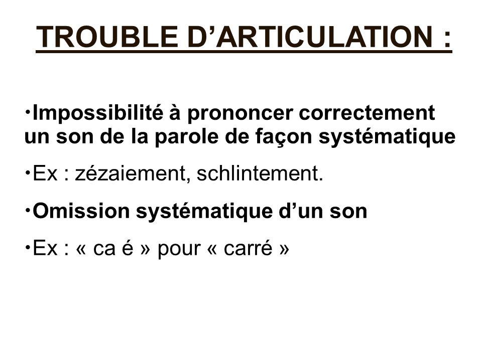 TROUBLE D'ARTICULATION : Impossibilité à prononcer correctement un son de la parole de façon systématique Ex : zézaiement, schlintement. Omission syst