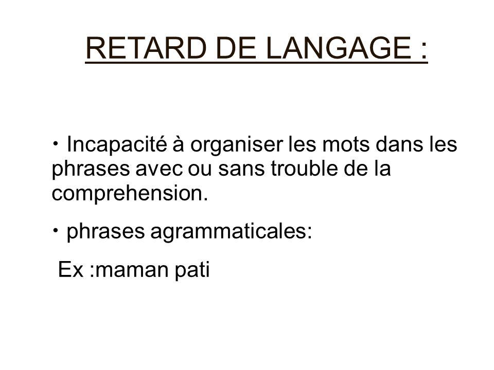 RETARD DE LANGAGE : Incapacité à organiser les mots dans les phrases avec ou sans trouble de la comprehension. phrases agrammaticales: Ex :maman pati