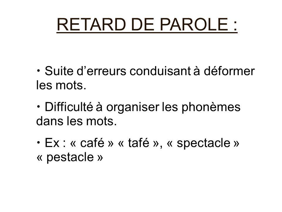 RETARD DE PAROLE : Suite d'erreurs conduisant à déformer les mots. Difficulté à organiser les phonèmes dans les mots. Ex : « café » « tafé », « specta
