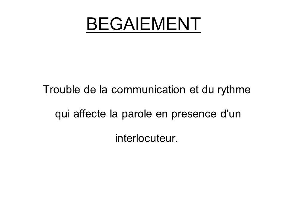 BEGAIEMENT Trouble de la communication et du rythme qui affecte la parole en presence d'un interlocuteur.