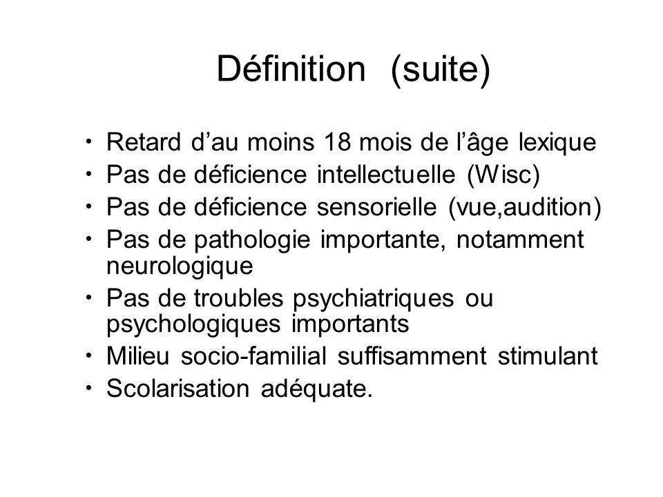 Définition (suite) Retard d'au moins 18 mois de l'âge lexique Pas de déficience intellectuelle (Wisc) Pas de déficience sensorielle (vue,audition)
