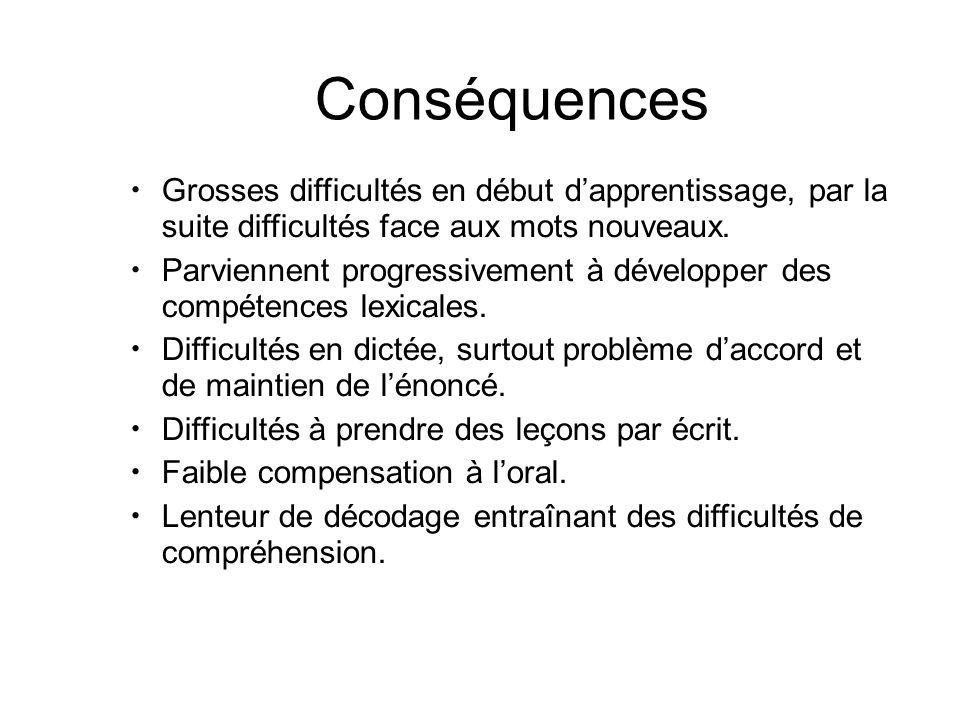 Conséquences Grosses difficultés en début d'apprentissage, par la suite difficultés face aux mots nouveaux. Parviennent progressivement à développer d