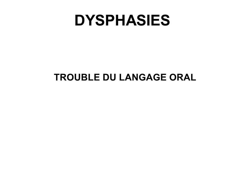 DYSPHASIES TROUBLE DU LANGAGE ORAL