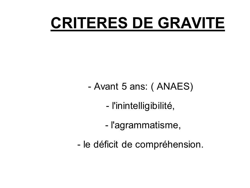 CRITERES DE GRAVITE - Avant 5 ans: ( ANAES) - l'inintelligibilité, - l'agrammatisme, - le déficit de compréhension.