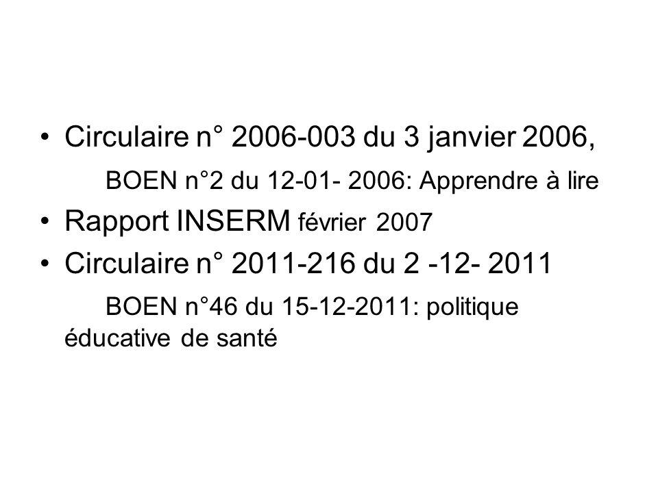Circulaire n° 2006-003 du 3 janvier 2006, BOEN n°2 du 12-01- 2006: Apprendre à lire Rapport INSERM février 2007 Circulaire n° 2011-216 du 2 -12- 2011