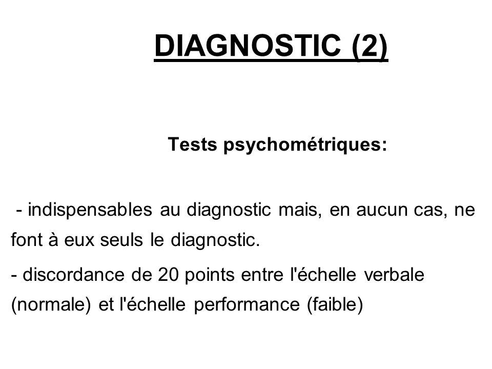 DIAGNOSTIC (2) Tests psychométriques: - indispensables au diagnostic mais, en aucun cas, ne font à eux seuls le diagnostic. - discordance de 20 point