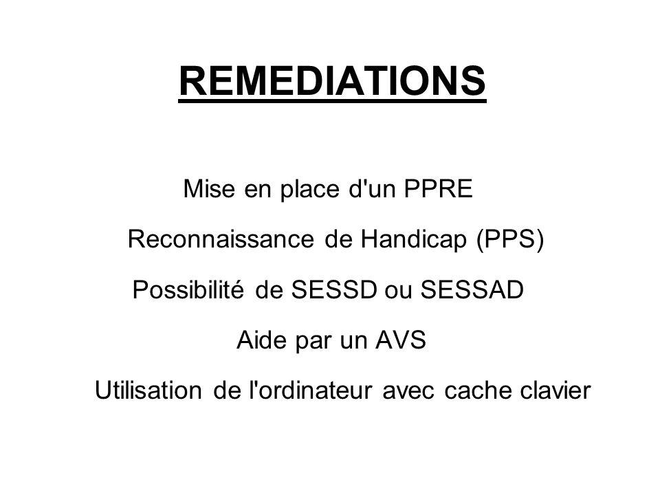 REMEDIATIONS Mise en place d'un PPRE Reconnaissance de Handicap (PPS) Possibilité de SESSD ou SESSAD Aide par un AVS Utilisation de l'ordinateur avec