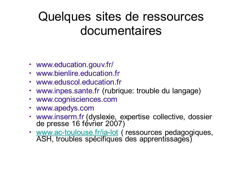 Quelques sites de ressources documentaires www.education.gouv.fr/ www.bienlire.education.fr www.eduscol.education.fr www.inpes.sante.fr (rubrique: tro