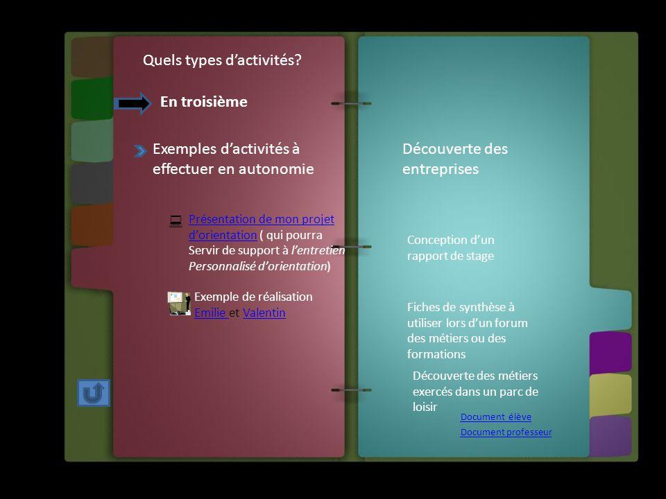 Quels types d'activités? En troisième Exemples d'activités à effectuer en autonomie Présentation de mon projet d'orientationPrésentation de mon projet