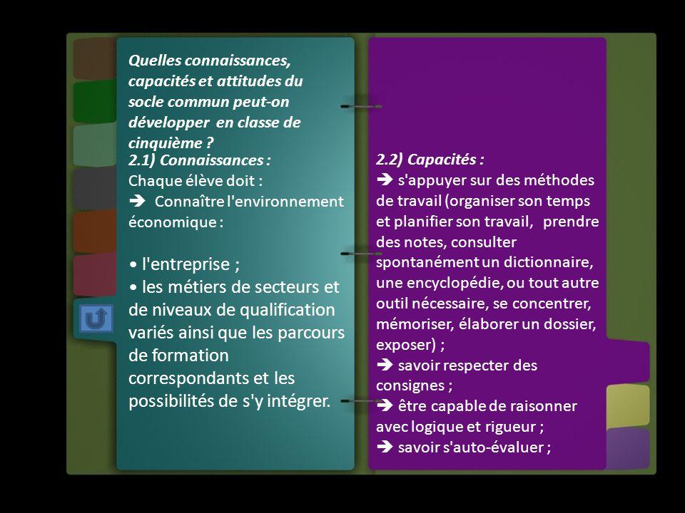2.1) Connaissances : Chaque élève doit :  Connaître l'environnement économique : l'entreprise ; les métiers de secteurs et de niveaux de qualificatio